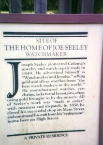 Site of the home of Joseph Seeley, Watchmaker