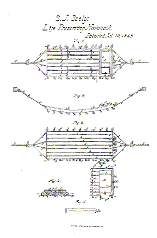 1849 SEELY Life Preserving Hammock Patent #8874