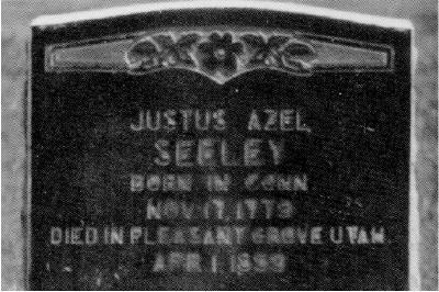 Justus Azel Seely's tombstone
