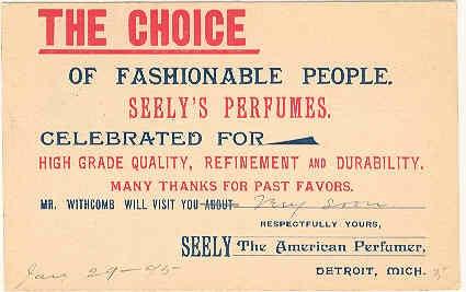 1895 Seely's Perfume Detroit MI Postcard
