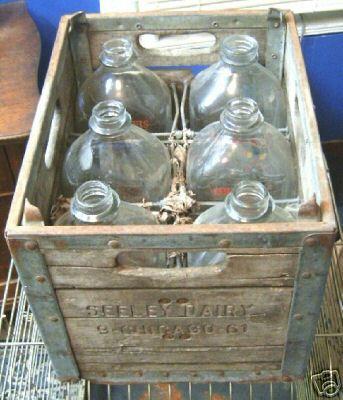 Vintage Seeley Dairy Milk Bottles and Crate