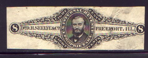 Internal Revenue 8 Cent Tax Stamp - Dr. D. H. Seelye & Co